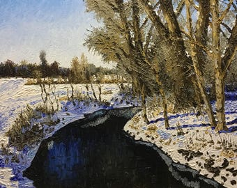 "Original Impressionist style Impasto oil painting ""Bend in the Stream, Winter"" 16x20"