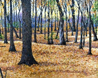 "Original Impressionist style Impasto Landscape Oil Painting ""Carpeting the Forest"" 24x36"