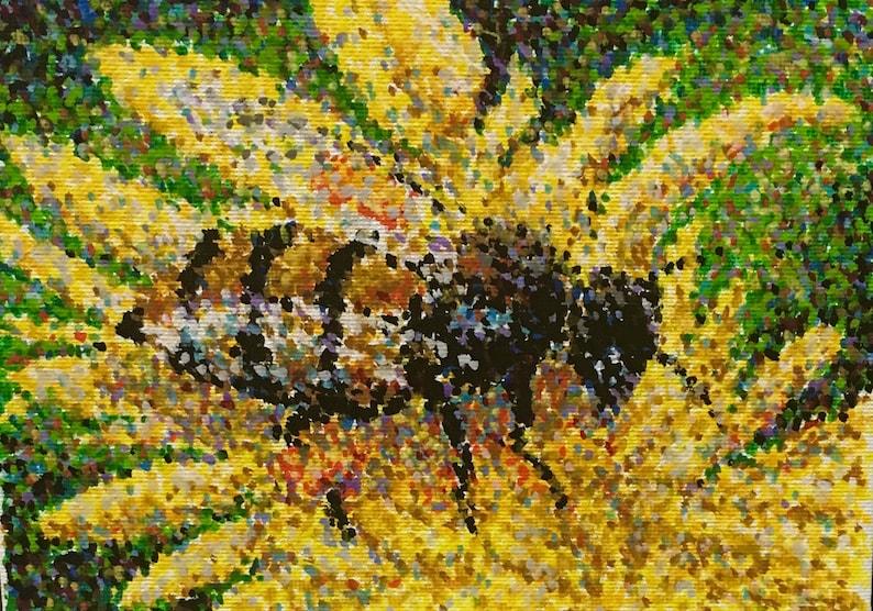 Original Acrylic Pointillist Painting by Michigan artist 5x7