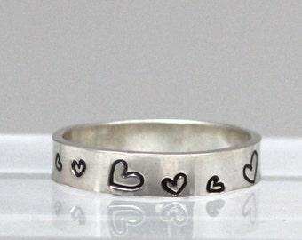 Whimsical Heart Ring, Sterling Silver Heart Ring, Sterling Silver Band, Statement Ring, Stackable Rings, Christmas gift