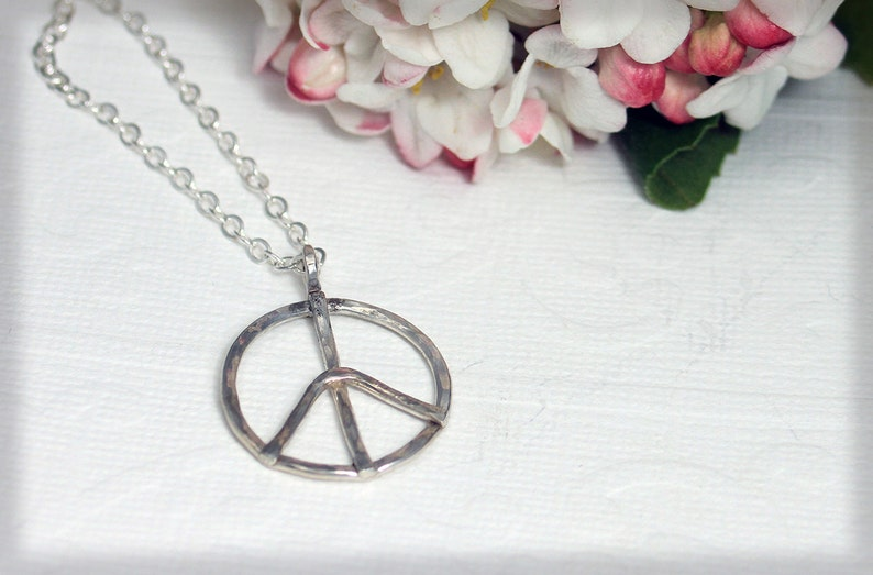 eco friendly sterling silver peace sign necklace statement hammered peace sign women gift novelty wedding handmade peace sign