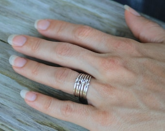 Drops of silver rings, Sterling silver drop rings, stackable rings, statement rings, promise rings, eco friendly, women, bridesmaid gift