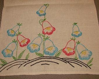 Vintage Colorful Embroidered Floral Linen Runner - Dresser Scarf