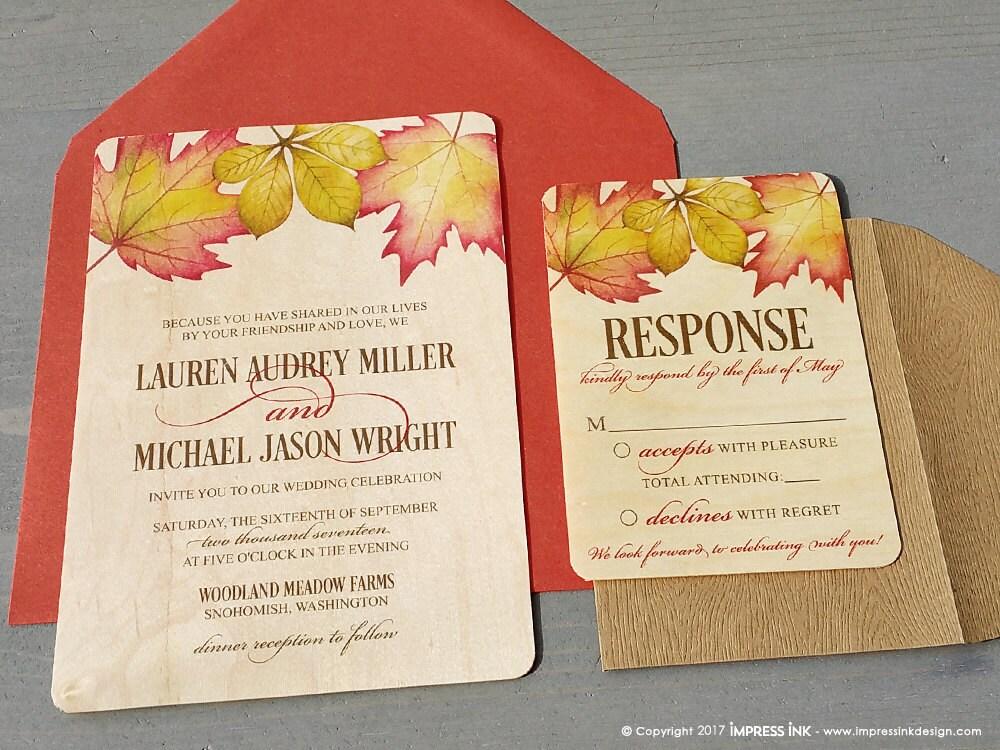 Fall Color Wedding Invitations: Fall Foliage Autumn Leaves Rustic Wedding Invitation