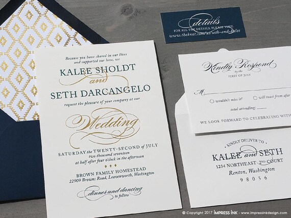navy and gold foil formal wedding invitation sample flat etsy