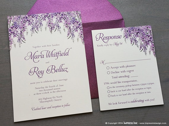 Lavender Wisteria Wedding Invitation Sample Flat Or Pocket Fold Style