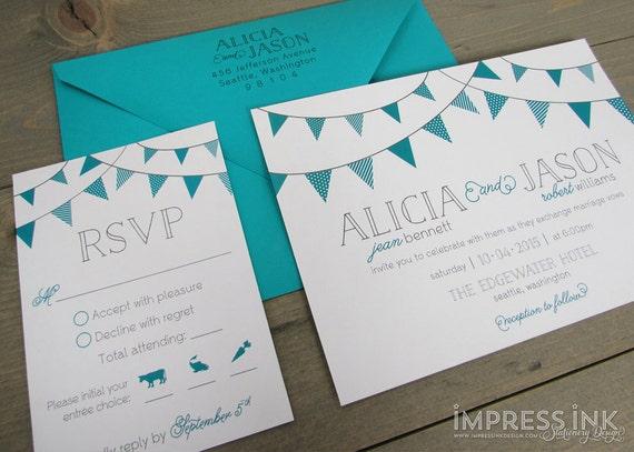 Bunting Wedding Invite: Bunting Flags Wedding Invitation Sample Flat Or Pocket