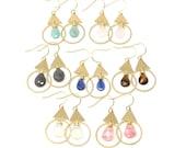 Ward teardrop gemstone earrings, brass, tiger eye brown, blue kyanite, opalite, neutral, under 30, natural, nature, for her