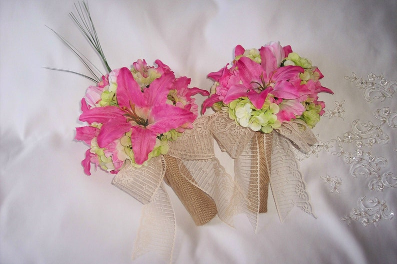 Bright pink and Green wedding flowers Bridal bouquets  flowers corsages buttonnieres