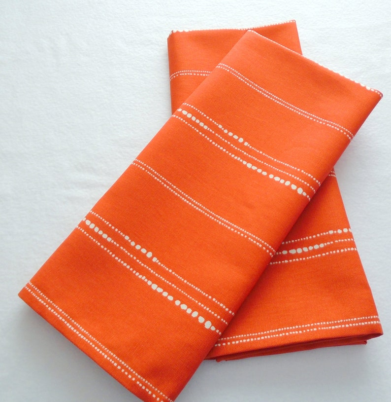 Merveilleux Beads Orange Tea Towels Set Of 2, Orange With White Dots Kitchen Towel