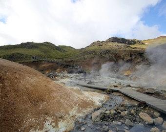 Iceland Hot Springs Photo, Iceland Print, Iceland landscape, Iceland canvas, Iceland Art, Hot springs print