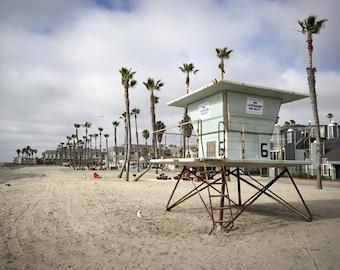 Lifeguard stand photo, Lifeguard stand canvas, Lifeguard stand print, Oceanside Beach photo, Southern California print
