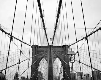 Brooklyn Bridge black and white print, Brooklyn Bridge canvas, new york photography, Brooklyn print, oversized art, nyc black and white