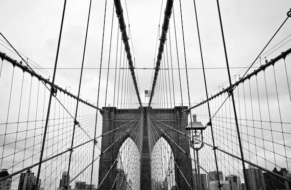 Brooklyn Bridge Black And White Print Brooklyn Bridge Canvas Etsy