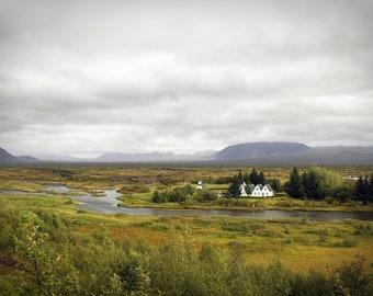 Icelandic Farm House, Iceland Print, Iceland landscape, Iceland canvas, Iceland Art, Iceland House