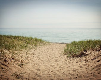 Lake Michigan beach print, Lake Michigan canvas, Lake Michigan photo, Good Hart photo, beach path print, Church beach print