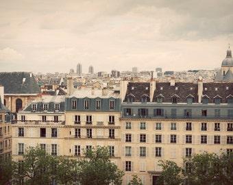 Paris print, Paris canvas, Paris landscape, oversized art, oversized print, looking over Parisian buildings at the city, France photo