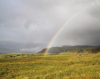 Icelandic Rainbow, Iceland Print, Iceland landscape, Iceland canvas, Iceland Art