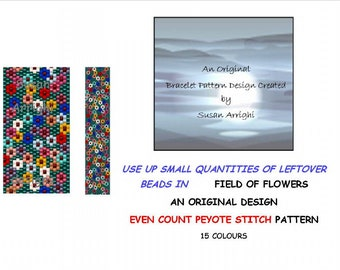 FIELD OF FLOWERS - Peyote Stitch Even Count Beading Pattern