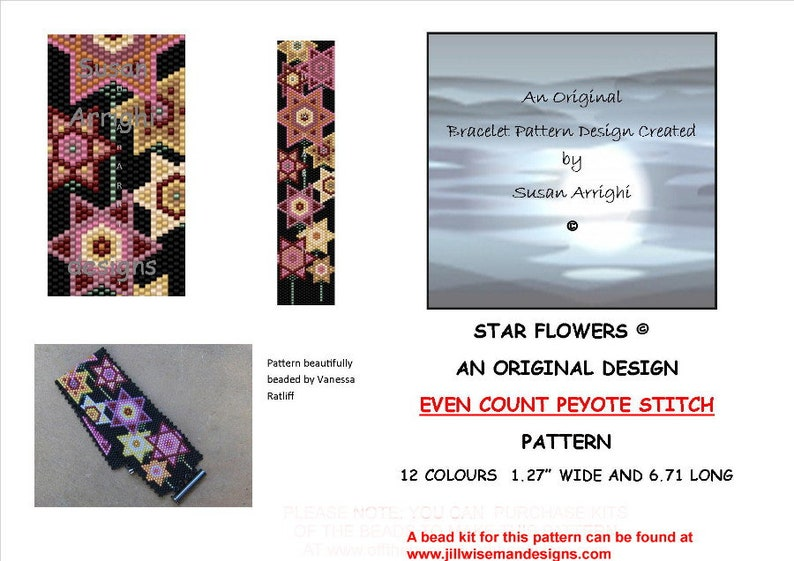 STAR FLOWERS   Peyote Stitch Even Count Beading Pattern image 0