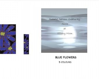Blue Flowers - Peyote Beading Pattern -  Even Count in Miyuki Delicas