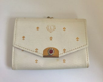 Vintage Lions Club St. Thomas Leather Kisslock Wallet Fleur de Lys Paste Ruby and White Rhinestones