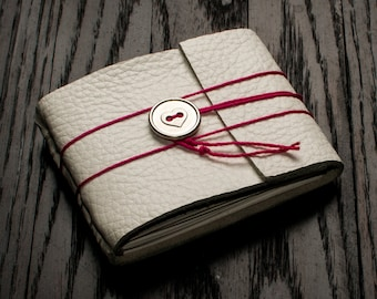 White Leather Journal or Leather Sketchbook, Gift For Her, Metallic Heart Closure, Pocket Sized, Handbound Coptic Stitch Notebook