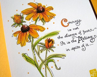 Le courage Art Print - motivation Art - imprimé Floral - citation de Mark Twain - Black-Eyed Susans - impression 5 x 7