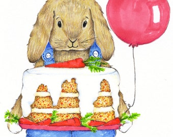 Happy Birthday Carrot Cake Card - Congratulations Card - Bunny Birthday Card