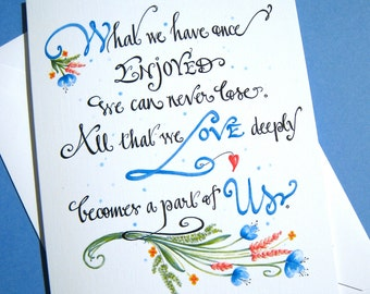 Helen Keller Quote Sympathy Card - Condolence Card - Loss Card - Hand Lettered Memorial Card