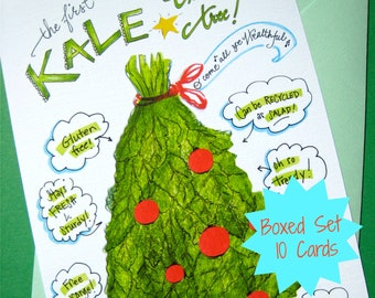 funny christmas cards kale christmas tree vegan christmas boxed christmas cards - Unusual Boxed Christmas Cards