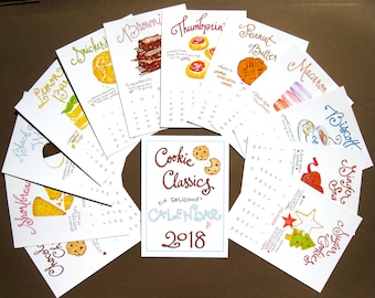 2018 Calendar On Sale - Cookie Calendar - Illustrated Desk Calendar - Kitchen Calendar - Cookie Lover - Gift for Cook