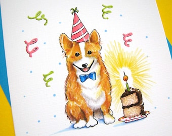 Corgi Birthday Card - Dog Birthday Card, Corgi Card, Happy Birthday Card, Dog Card, Corgi Lover,