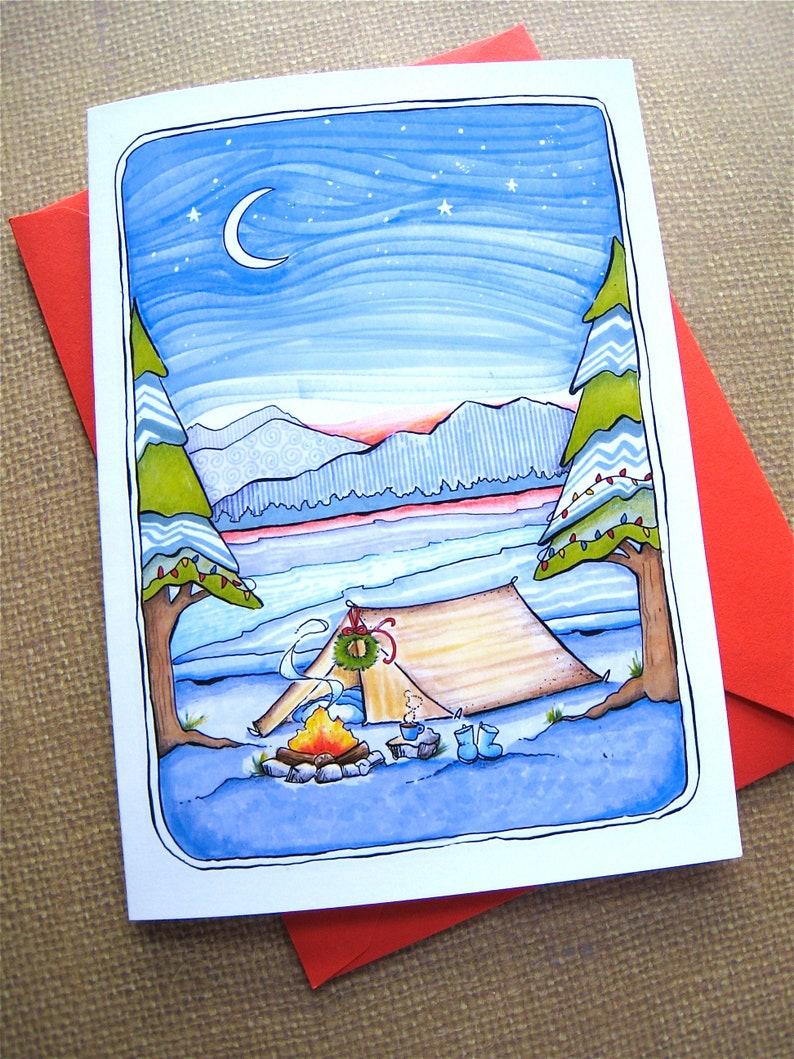 Mountains Camping Holiday Card