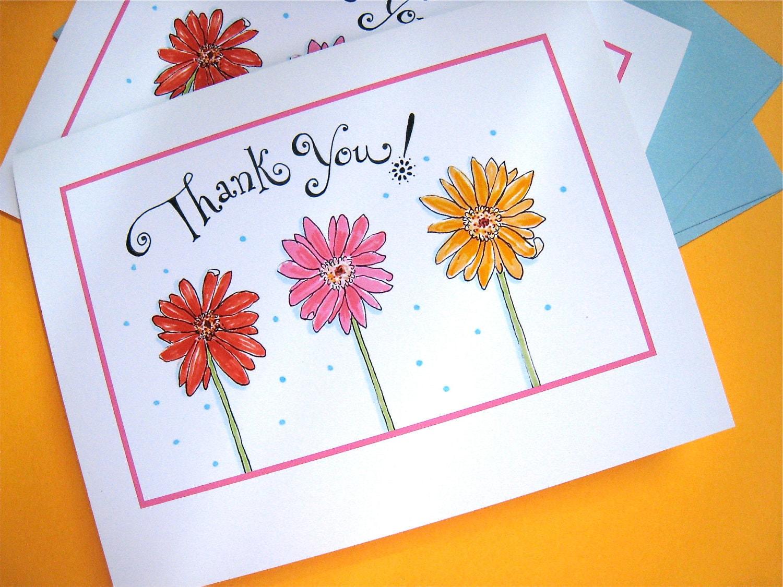 Gerbera Daisy Danksagungen Blume Grußkarten Geschenk | Etsy