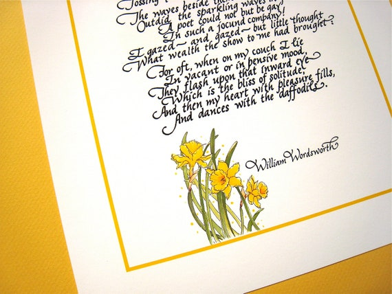 Littérature Romantique Anglaise jonquilles. art de la littérature romantique anglaise. cadeau littéraire.  wordsworth calligraphie poème imprimé, 8 x 10