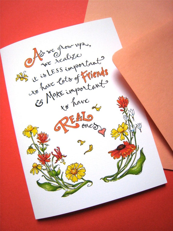 Friendship Quote Card Best Friend Girlfriend Birthday