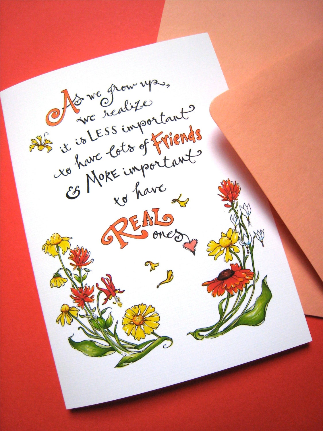 Friendship Quote Card Best Friend Card Girlfriend Birthday Etsy