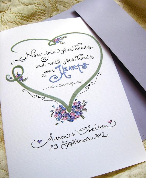 Personalized Wedding Card Wedding Calligraphy Card Wedding Etsy