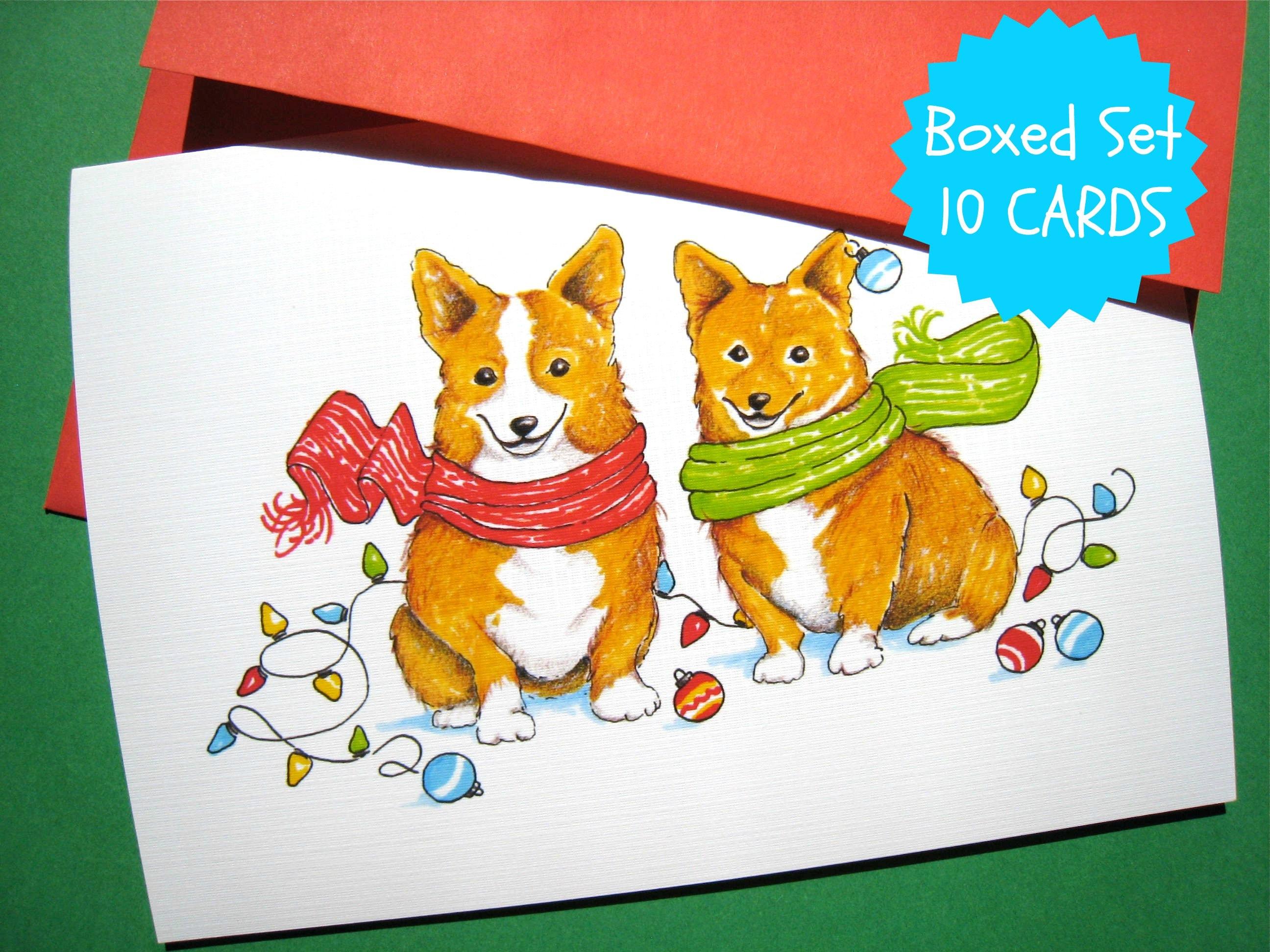 Corgi Dog Christmas Cards Dog Holiday Cards Cute Christmas | Etsy