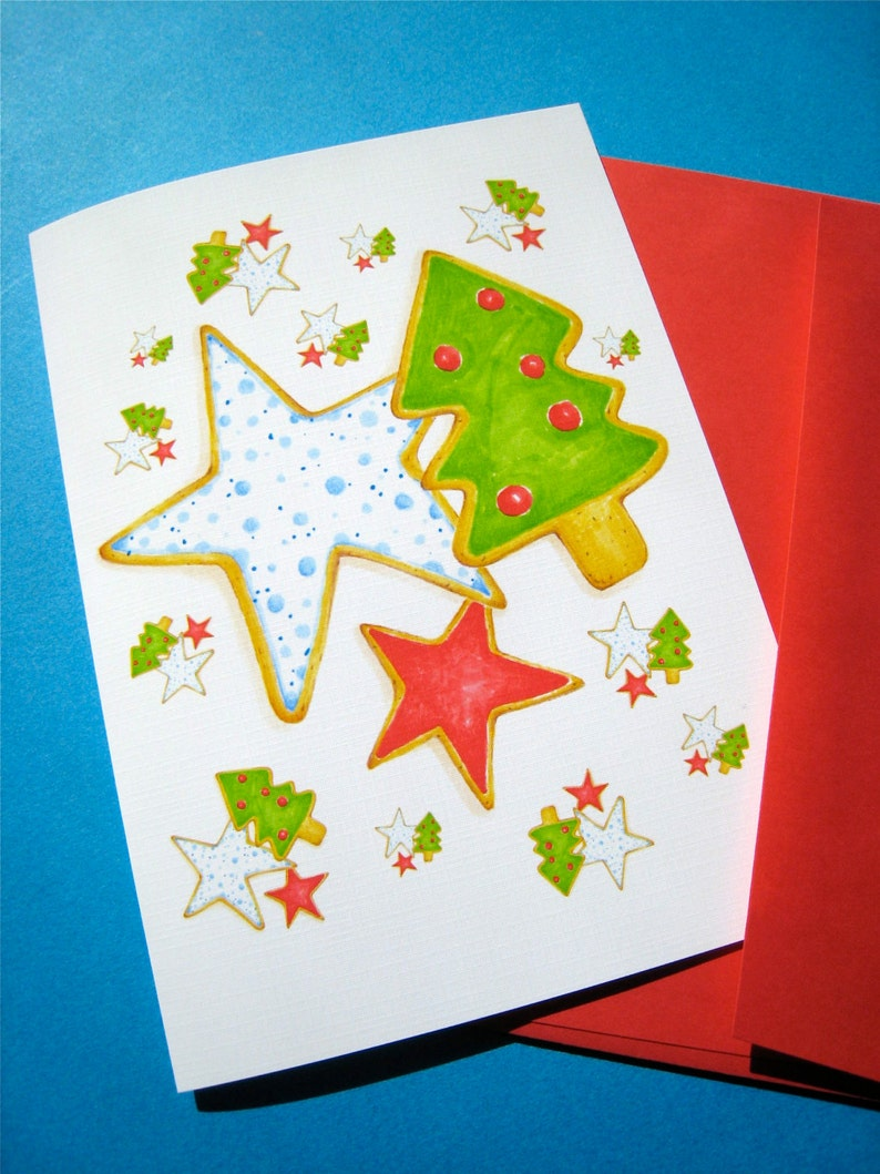 Christmas Cookies Holiday Cards Set Sugar Cookies Recipe Box Of 10 Cards
