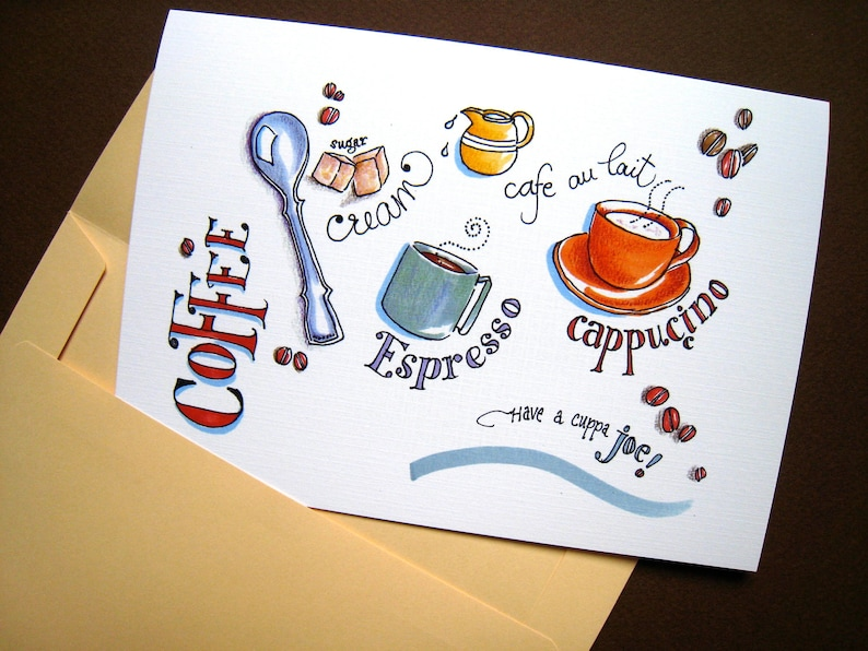 Coffee Cups Card Gift For Lover