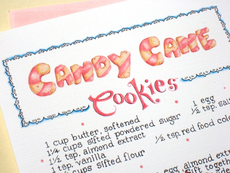 Christmas Cookie Card Christmas Recipe Card Christmas Sweets Holiday Baking Candy Cane Cookies Illustrated Recipe