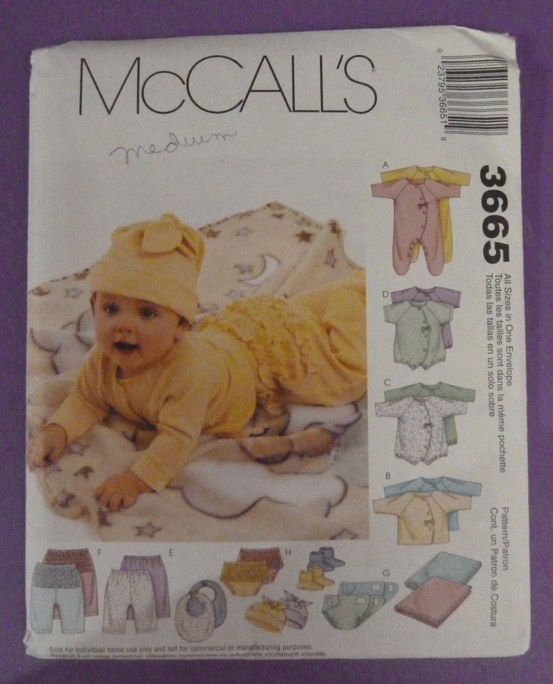 450b9770001 McCall s Sewing Pattern 3665 Layette Coveralls Top