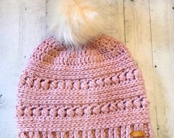 Crochet Women s Pom Pom Hat - CC Beanie Inspired Hat - Crochet Pom Pom  Beanie - Women s Slouch Hat With Leather Tag 7cdd9c33687