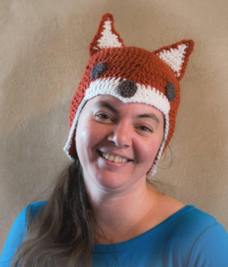 Crochet Fox Hat Dark Fox Hat Handmade Beanie Baby Fox  794e896372cb