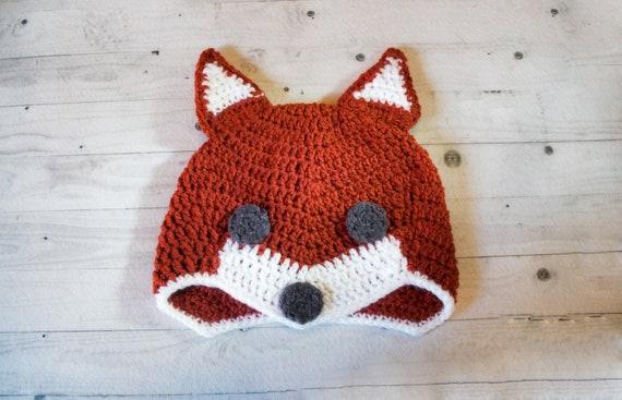 Crochet Fox Hat Dark Fox Hat Womens Fox Hat Beanie  569dd4cf2d57