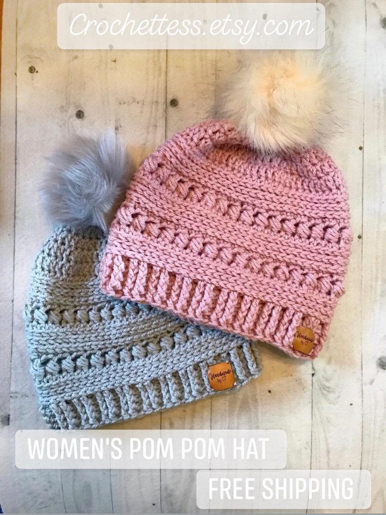 c5b9fd30b Crochet Women's Pom Pom Hat - CC Beanie Inspired Hat - Crochet Pom Pom  Beanie - Women's Slouch Hat With Leather Tag