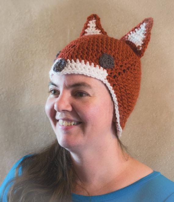 Crochet Fox Hat Newborn To Adult Sizes Beanie Baby Fox 9b58a75e6385