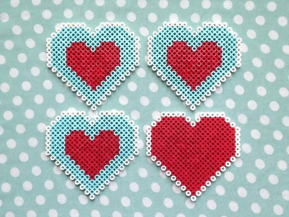 The Legend Of Zelda Heart Container Inspired Perler Bead Video Game Coasters Set Of Four